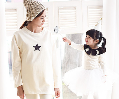 Brushed month family mother and baby long sleeve_15D10