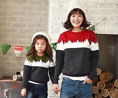Brushed Winter Kingdom man-to-man mom and baby long sleeve_16D11