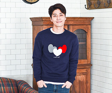 Brushed three-heart one-man male long sleeve_16D01