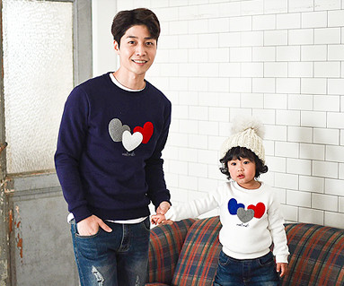 Brushed three-heart man-to-man dad and baby long sleeve_16D01