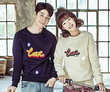 Brushed Love Circle Embroidered round Couples long sleeve_16D05