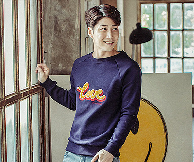Brushed Love Circle embroidery round men long sleeve_16D05