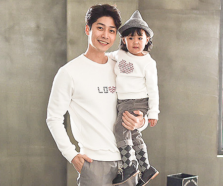 Brushed Love Stitch Man-to-man daddy and baby long sleeve_16D08
