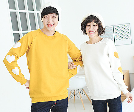 "Brushed Olive Man to man Couples long sleeve_13D02 <font color=""#FF6666""><strong>[Order available]</strong></font>"