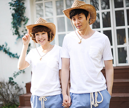 Clean Couple round Couples short T-shirts_13B28