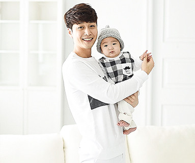 Modern check dad and baby long sleeve_16A05