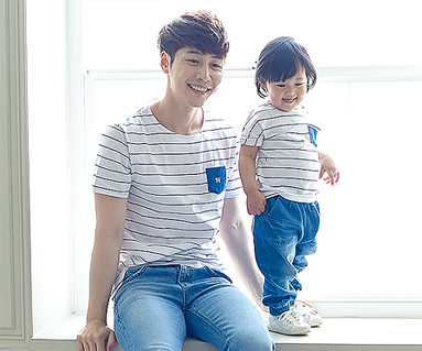 Child blue family dad and baby short T-shirts_16B05