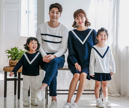 "<font color=""ffffff"">[Family long sleeve tea & family look] <br></font> Modern V family long sleeve_17C10"