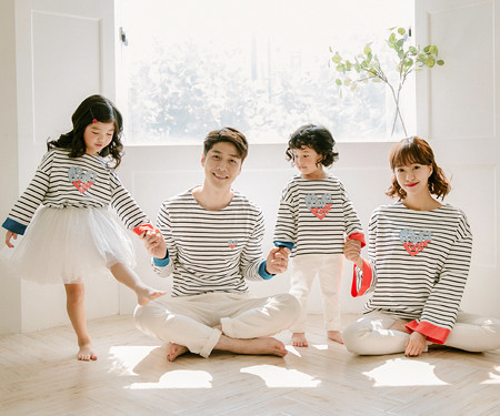 "<font color=""ffffff"">[Family long sleeve tea & family look] <br></font> Roller Heart family long sleeve_17C05"
