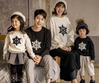 "<font color=""ffffff"">[Family long sleeve tea & family look] <br></font> Brushed pom-pom snow family long sleeve_17D08"