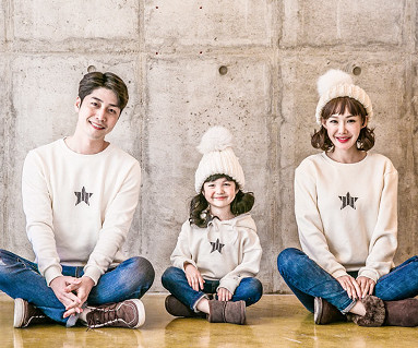 "<font color=""ffffff"">[Family long sleeve tea & family look] <br></font> Brushed Star Crack family long sleeve_17D10 12/11 Goods Issue"