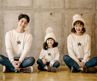 "<font color=""ffffff"">[Family long sleeve tea & family look] <br></font> Brushed Star Crack family long sleeve_17D10"