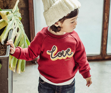 Brushed Love Circle embroidery round baby long sleeve_16D05