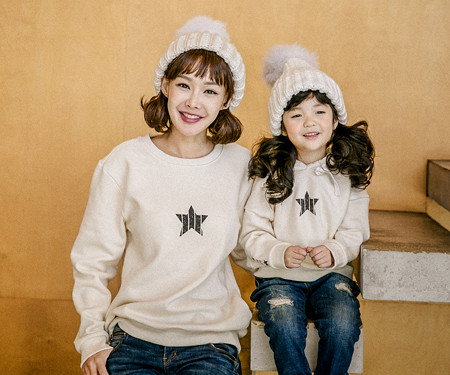 "<font color=""ffffff"">[Family long sleeve tea & family look] <br></font> Brushed Star Crack Mom and Baby long sleeve_17D10"