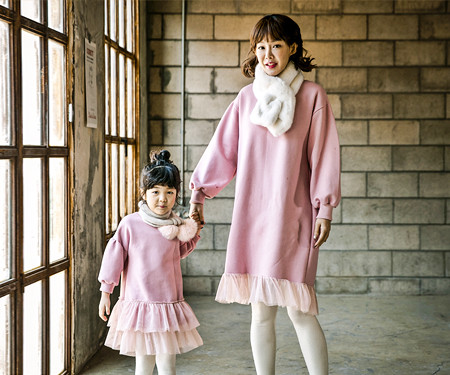 """<font color=""""ffffff"""">[Family long sleeve tea & family look] <br></font> Brushed Sasha Princess Mother and Baby long sleeve_17D15"""