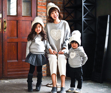 Brushed Cotton Family Mom and Baby long sleeve_16D04