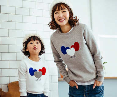 Brushed three hearts one man mother and baby long sleeve_16D01