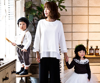 Ribbon Point Family Mom and Baby long sleeve_16C04