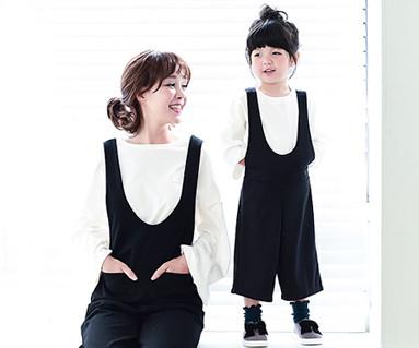 Bebe suspenders pants mom and baby _16C07