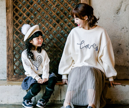 "<font color=""ffffff"">[Family long sleeve tea & family look] <br></font> Brushed Logo Tessle Mom and baby long sleeve_17D14"