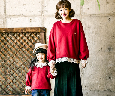 "<font color=""ffffff"">[Family long sleeve tea & family look] <br></font> Brushed Luna Race Mother and Baby long sleeve_17D13"