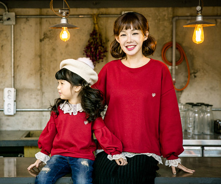 """<font color=""""ffffff"""">[Family long sleeve tea & family look] <br></font> Brushed Luna Race Mother and Baby long sleeve_17D13"""