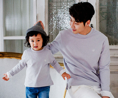 Koi Shirring daddy and baby long sleeve_17A08