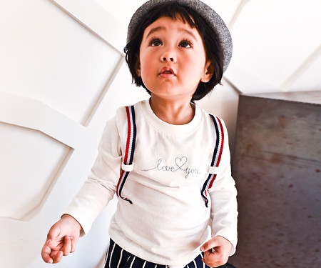Love suspenders point baby long sleeve_16C08