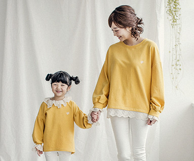 "<font color=""ffffff"">[Family long sleeve tea & family look] <br></font> Luna Race mother and baby long sleeve_18A05WK"