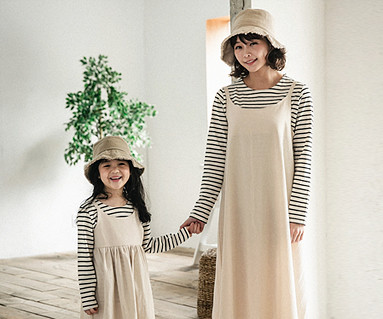 "<font color=""ffffff"">[Family long sleeve tea & family look] <br></font> Pure Simplicity dress Mother and baby long sleeve_18A03"