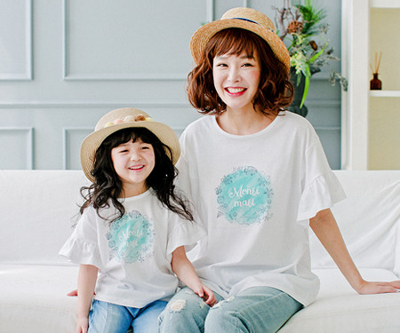 Blue marine mother and baby short T-shirts_17B09WK