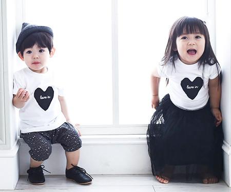 Black Heart round baby short T-shirts_15B08