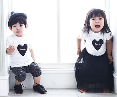Black Heart round baby short T-shirts_15B08