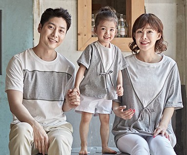 "<font color=""ffffff"">[Family long-sleeved tee & family look] <br></font> Ribbon basic family short T-shirts_18B10"