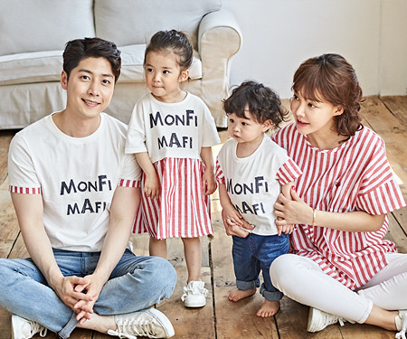 "<font color=""ffffff"">[Family long-sleeved tee & family look] <br></font> Red mango family short T-shirts_18B18"