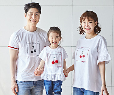 "<font color=""ffffff"">[Family long-sleeved tee & family look] <br></font> Cherry Coco family short T-shirts_18B16"
