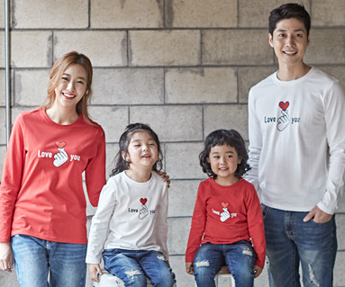 "<font color=""ffffff"">[Family long sleeve tea & family look] <br></font> Finger Heart family long sleeve_18C02"