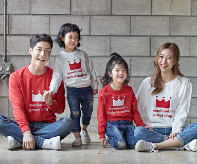 "<font color=""ffffff"">[Family long sleeve tea & family look] <br></font> crown Man to man family long sleeve_18C04"