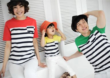 Tricolor Tang shirt round short T-shirts