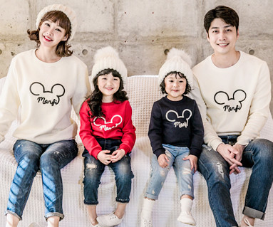 """<font color=""""ffffff"""">[Family One-to-One & Unisex] <br></font> Brushed Monty Mouse family long sleeve_17D07"""