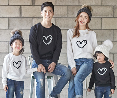 "<font color=""ffffff"">[Family One-to-One & Unisex] <br></font> Brushed Heart Heart family long sleeve_18D01"