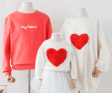 "<font color=""ffffff"">[Family One-to-One & Unisex] <br></font> family Brushed pogney heart long sleeve 18D03F / familyLook"