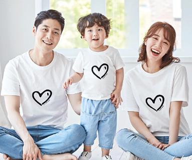 "<font color=""ffffff"">[Family short T-shirts T & family look] <br></font> family Heart Heart short T-shirts 19B07 / family Look, Family Tea"