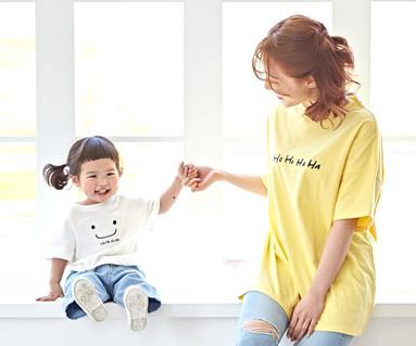 "<font color=""ffffff"">[Family short T-shirts Tees & Family Looks] <br></font> Ho-Ha-ha mom and baby short T-shirts_19B06"