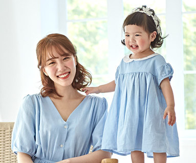 """<font color=""""ffffff"""">[Family short T-shirts Tees & Family Looks] <br></font> Day Blue Mother and Baby short T-shirts_19B09"""