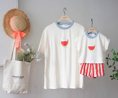 "<font color=""ffffff"">[Family short T-shirtsTee & Family Look] <br></font> Watermelon Whale Tee Mother and Baby short T-shirts_19B15"