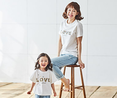 "<font color=""ffffff"">[Family short T-shirts Tees & Family Looks] <br></font> Natural Love Mother and Baby short T-shirts_18B02"