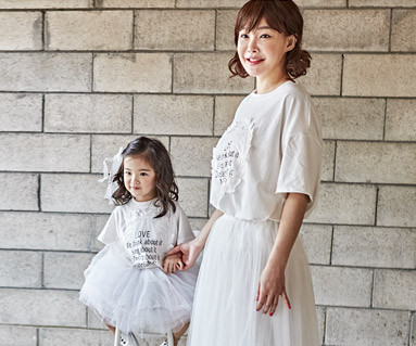 """<font color=""""ffffff"""">[Family short T-shirts Tees & Family Looks] <br></font> Lorosha Mother and Baby short T-shirts_18B09 <font color=""""#FF6666""""><strong>[Order available]</strong></font>"""