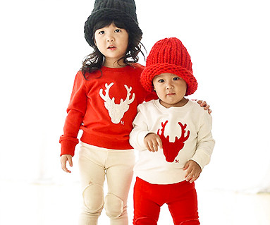"""Brushed Deer Man to man baby long sleeve_15D05 <font color=""""#FF6666""""><strong>[Order available]</strong></font>"""