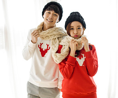 "Brushed Deer Man to man Couples long sleeve_15D05 <font color=""#FF6666""><strong>[Order available]</strong></font>"